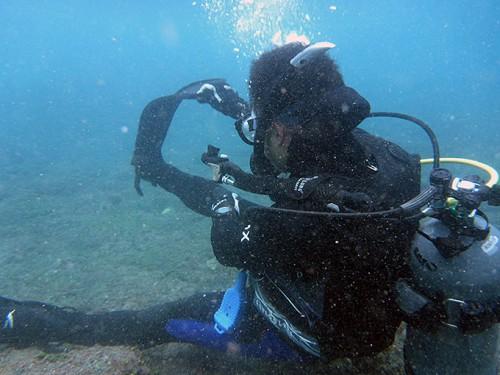 海の中でもスキルの練習