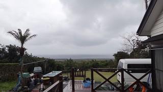 南からの風は吹き止まず雨も激しく降ったりもしていた3/19の八丈島