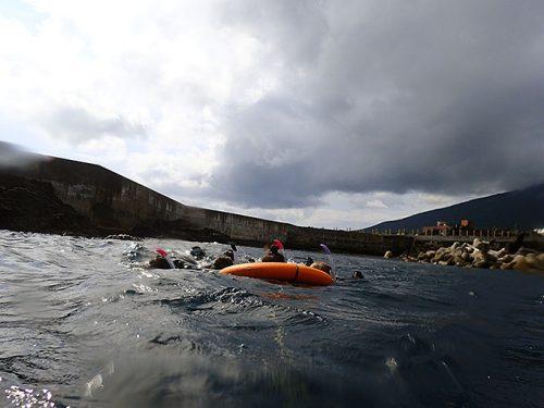 カメを探しに沖まで泳ぎ