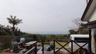 広がる雲から時間ともに雨も降ってきていた3/31の八丈島