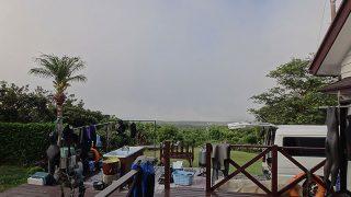 朝方霧は立ち込んでもいたが日中は青空広がっていた7/8の八丈島