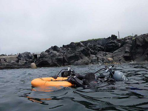 浮き輪につかまり海に慣れ