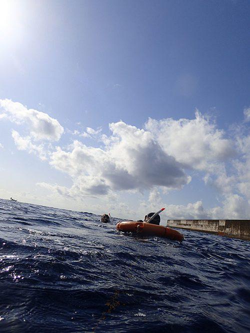 沖まで出ても海は凪ぎ
