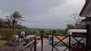 時間ともに風は強まり時折雨足強まっていた2/2の八丈島