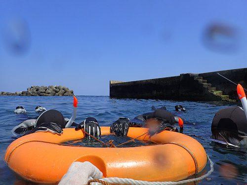 穏やかなところで浮き輪に掴まり海に慣れ