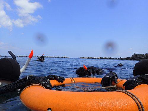 浮き輪に掴まり海に慣れて頂いて