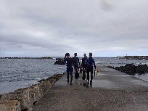 堤防歩いて行きまして