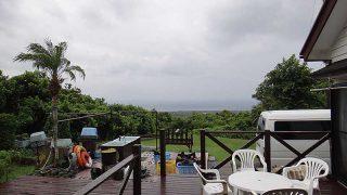 雨は早めに上がってきていて青空広がってきていた8/25の八丈島