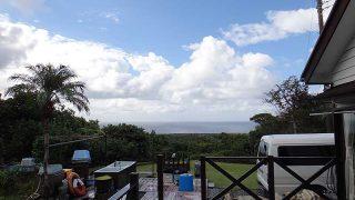 風は次第に収まって青空も広がってきていた10/14の八丈島