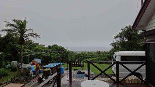 そんなに雨は降らないが空には雲が広がっていた7/4の八丈島