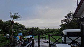 早めのうちは風は強くて雨も残るが次第に晴れてきていた9/25の八丈島