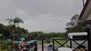 時折雨足強まって風は涼しく肌寒くなっていた10/15の八丈島