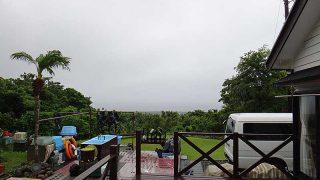 風はそんなに強くはないが雨しっかり降ってきたていた6/27の八丈島