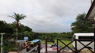 青空広がり暑くはなるが時折雨が降ってきていた7/15の八丈島